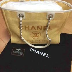CHANEL Deauville Tote Chain Shoulder Bag MM Yellow Canvas Woman Auth Mint Rare