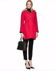 Nwt Kate Spade Red Wool Coat W/removable Faux Leopard Fur Collar Size 4