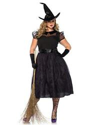 Witch Costume Darling Spellcaster 3pc Blk And Purp Plus Size Pretty Witch Costume