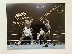 Sugar Ray Leonard And Roberto Duran Dual Autographed 11x14 Photo Boxing Psa