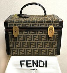 FENDI Zucca Vintage Travel Cosmetic Beauty Case Luggage SUPERB VERY RARE PIECE