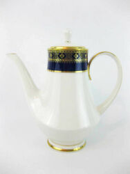 Noritake Aristocrat Tall Coffee Pot 7903 Cobalt And Gold, Ivory Background 7 Cups