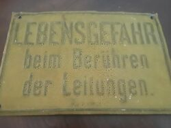 Germany Plate Sign Metal Old Risk Of Death From Touching Cables