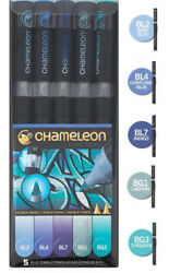 Chameleon Color Tones Double-Ended 5 Pen Art Marker Set BLUE TONES