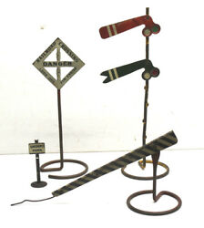 3 Pc 8-9 Tall Antique Metal O Gauge Train Layout Signs+signals Americana