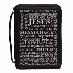 Black Names of Jesus 7 x 10 inch Embroidered Polyester Bible Cover Case