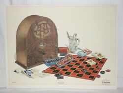 Past Times By C Don Ensor Antique Radio Checkers Dominoes Cards Hand Signed