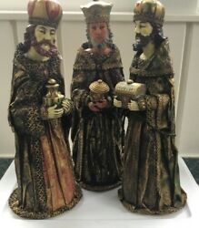 Vintage Three Wise Men Hand Made In Japan 19t X 8w Robes Are Paper-very Rare