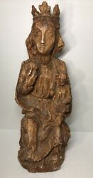Belle Statue Of The Virgin Mary To And child end XVI # Century H 16 12in Spain