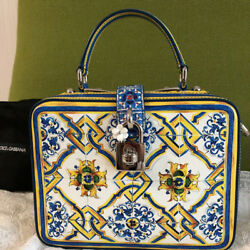 DOLCE & GABBANA Hand Shoulder Bag Pouch Crossbody Tile pattern Woman Auth Rare