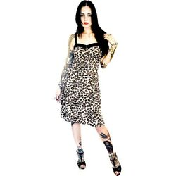 Switchblade Stiletto Leopard Swing Dress Retro Rockabilly Animal Print