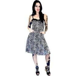 Switchblade Stiletto Zebra Swing Dress BlackWhite Retro Rockabilly Animal Print