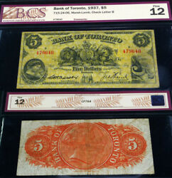 Bank Of Toronto 1937 5 Yellow Banknote With Beautiful Images