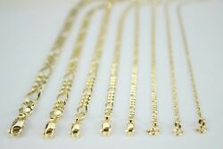 10k Solid Yellow Gold Figaro Chain Necklace Bracelet 2.5mm 10.5mm / 16 30