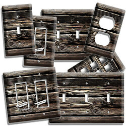 RUSTIC DISTRESSED DARK OLD WORN OUT WOOD LIGHT SWITCH WALL OUTLET PLATE HD DECOR