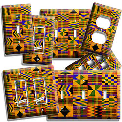 AFRICAN COLORFUL KENTE CLOTH LOOK LIGHT SWITCH OUTLET WALL PLATES ROOM ART DECOR