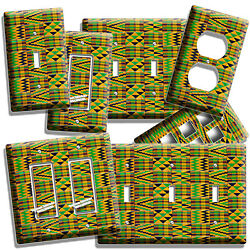 AFRICAN COLORFUL KENTE CLOTH LOOK LIGHT SWITCH OUTLET WALL PLATE ROOM HOME DECOR