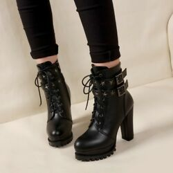 magic Womens Lace Up Punk High Block Heels Ankle Boots Shoes Black Casual New