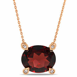 Amour 10k Rose Gold Oval-cut Garnet And Diamond Accent Station Necklace