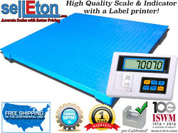 5and039 X 5and039 Floor Scale With Label Printer Indicator For Warehouse 2500 Lbs X .5 Lb