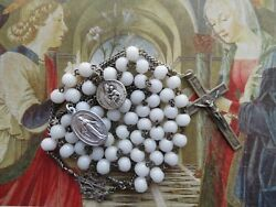 1900s Antique Med Opaline White Beads Rosary-marked Medals Our Lady Of Carmel