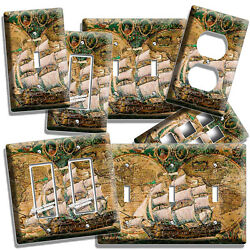 OLD WORLD MAP RUSTIC SAIL BOAT SHIP LIGHT SWITCH OUTLET WALL PLATES PIRATE DECOR