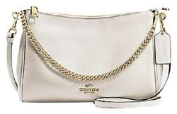 Nwt Coach Chalk Polished Pebble Leather Carrie Crossbody Shoulder Bag