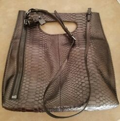 AUTHENTIC TOM FORD PYTHON ALIX FOLDOVER TOTECLUTCH  ANTHRACITE  $3890