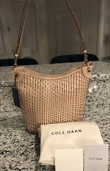 Cole Haan Genevieve NWT! Woven Leather Weave Bucket Hobo Tote Crossbody Hand Bag