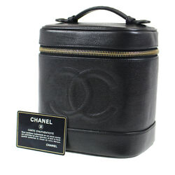 CHANEL CC Vanity Cosmetic Bag Caviar Skin Black Leather Vintage Auth #D148 I