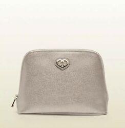 AUTH Gucci Pink Gold Metallic Leather Clutch Makeup Cosmetic Pouch Bag