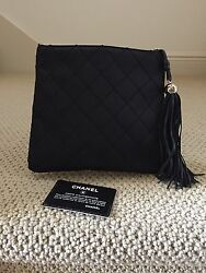 Authentic Chanel Black Quilted Silk Evening Bag