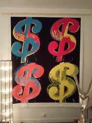 Pop Art, Andy Warhol Four Dollar Signs Xxxl 79x63in Hand-painted On Canvas