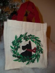 Scottish Terrier Scottie Scotty Dog Christmas Canvas Gift Bag With Gift Card NEW