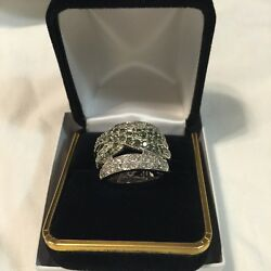 10k Genuine Solid White Gold/ Diamond 2.00 Ctw/ Ring Size 7/ Weight 9.1g