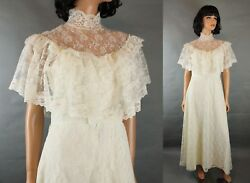 Hippie Wedding Dress Sz S Vintage 70s Long Ivory White Lace Cape Sleeveless Gown