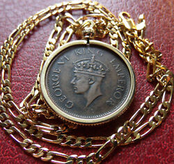 1940 India Anna Bronze Gold Filled Pendant On A 24 18k Gold Filled 5mmchain.