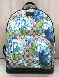GUCCI GG Blooms 406370 Bag Backpack Rucksack Blue Floral Flower Auth Mint Rare