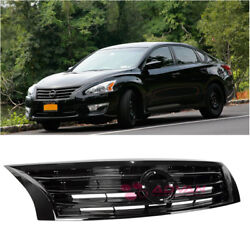 Front Bumper Upper Grille Airflow Glossy Black For 13-15 Nissan Altima Sedan