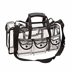 Kemier Clear Travel Makeup Bag with 6 External Pockets Cosmetic Organizer Case
