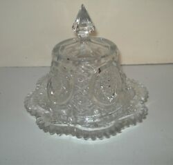Antique Jefferson Glass Krys-tol Iverna Pattern Dome Covered Butter Dish Ca 1907