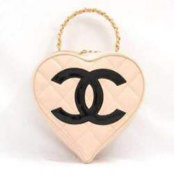 CHANEL Heart Vanity Hand Bag Purse Pink Beige Enamel Leather Woman Auth Rare !!