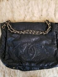 Authentic Chanel Rock Gold Chain Black Patent Flap Shoulder Bag Crossbody Large