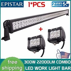 52inch 300w Led Light Bar Combo + 2x 4 18w Pods Offroad Suv 4wd Atv Ford Boat