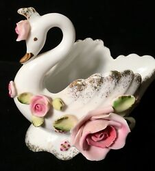 Lefton Swan Vintage Pink Roses on White with Gold Trim Hand Painted Japan