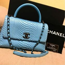 Chanel Coco handle Chain Shoulder Hand Bag Python Woman Luxury Auth Mint Rare