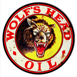 Wolf Head Motor Oil Reproduction Vintage Metal Sign 14x14 Round