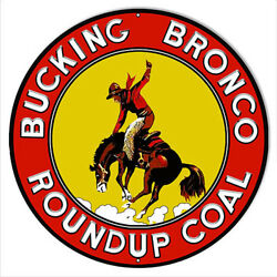 Bucking Bronco Rounup Coal Reproduction Country Metal Sign14x14 Round