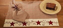 Red Barn Stars And Berries Country Check 13x19 Cotton Embroidered Placemats 4