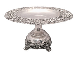 Sterling Centerpiece / Compote With Ornate Repousse Pattern By International Ste